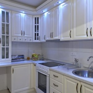 white kitchen and cabinets